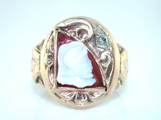 Antique Carved Hard Stone Cameo 10KT Gold Ring