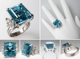 Vintage 13 Carat Aquamarine Cocktail Ring w/ Diamonds 14K White Gold