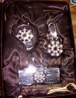 Argento SC Lotus Swarovski Crystal Compact Mirror, Lipstick Case