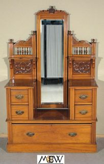 Antique English Walnut Vanity Chest Dresser w Mirror