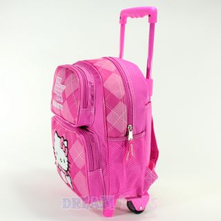 Sanrio Hello Kitty Pink Argyle 12 Small Toddler Roller Backpack