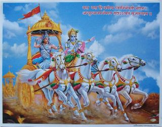 Lord Krishna and Arjun on Chariot in Mahabharata Poster 9x11 9710