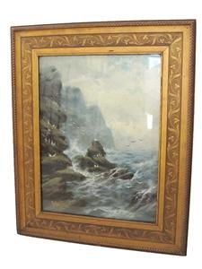 Antique Original Oil Painting on Board Seascape Seagulls Ocean Signed