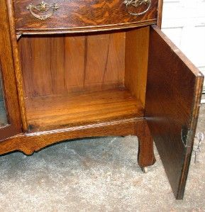 Antique Victorian American Oak Secretary China Cabinet