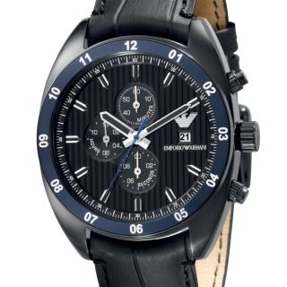 Emporio Armani Mens Watch Sport Black Date Chronograph Leather AR5916