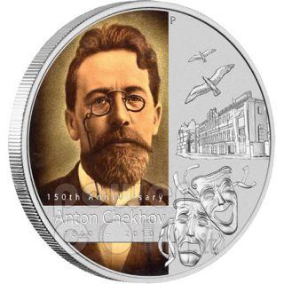 Silver Coin 150th Anniversary Anton Chekhov Tuvalu 2010