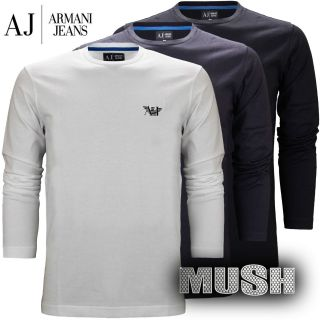 Armani Jeans Mens Eagle Logo Long Sleeve T Shirt in Black White or