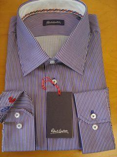 Robert Graham Aren RC Mens Blue Micro Stripe Dress Shirt Fall 2012 $