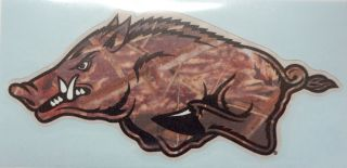 Arkansas Razorbacks Camo Helmet Hog Facing Left Vinyl Decal 5 Car