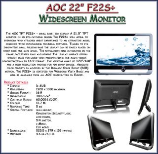 AOC F22S 22 inch Full HD Widescreen LCD Monitor Black 4038089120681