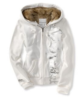 Aeropostale Womens Faux Fur Hoodie New Foil Script Zipper White