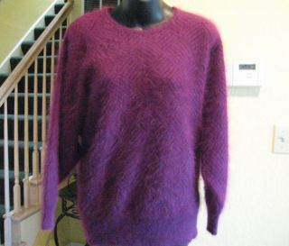 Vtg Connie A Lee Plum Soft 80% Angora Dolman Sleeve Sweater S M