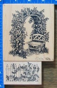 PSX BOTANICAL rubber stamps ROSE ARBOR TRELLIS FENCE GARDEN BENCH RARE