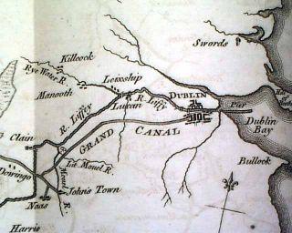 IRELAND CANAL MAP Dublin & River Shannon 1779 Revolutionary War Era UK