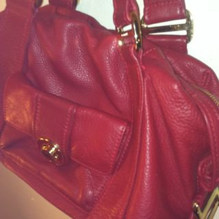Michael Kors Red Leather Gold Designer Authentic Purse Bag Rare Retail