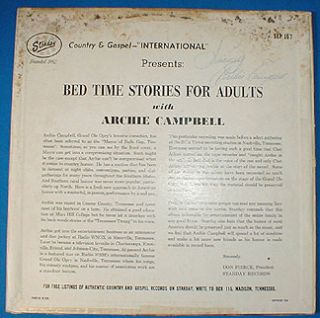 AUTOGRAPHED vinyl lp ARCHIE CAMPBELL Bedtime Stories Adults Starday