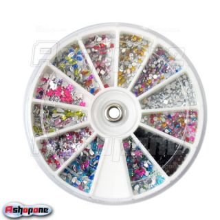 1500P Mix Shape Nail Art Glitter Tips Rhinestones Wheel