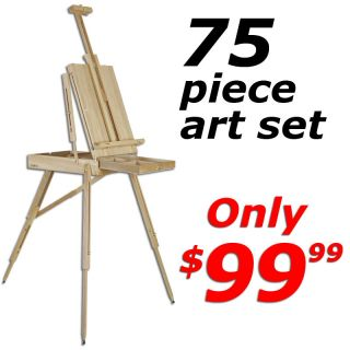 French Easel 75 Piece Gift Set Art Supplies Paint Kit Brushes Canvas