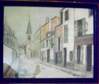 Maurice Utrillo Print Eglise de Strins Seine Large Framed