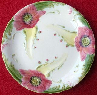 Antique French Majolica Poppies Plates KG Luneville 19T