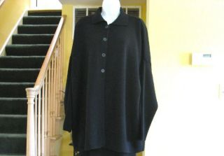 Ivan Grundahl Linea s Black Merino Wool Oversized Cardigan Sweater One
