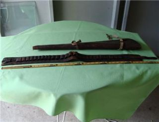 Vintage Leather Cartridge Belt Rifle Scabbard as Found in Shed in East