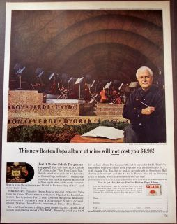 Promo Ad Conductor Arthur Fiedler of Boston Pops Orchestra