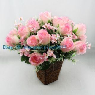 20 Pcs Silk Roses Buds Wedding Bouquet Artificial Flowers Pink F34