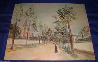 VINTAGE MAURICE UTRILLO A STREET IN THE SUBURBS 1916 LITHOGRAPH