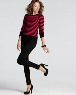 Aqua New Black Cashmere Striped Long Sleeve Crew Neck Pullover Sweater