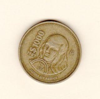 1989 Mexican 1000 Peso Coin Juana De Asbaje