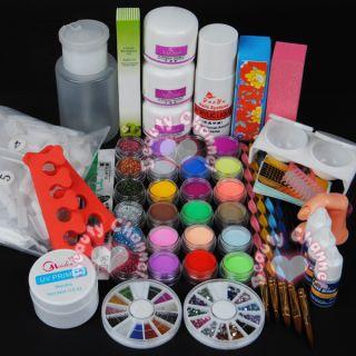 Full 18 Acrylic Powder Liquid Kits Nail Art Tip Kit 103