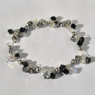 Sterling Silver Pearls & Swarovski Crystals Artisan Bracelet