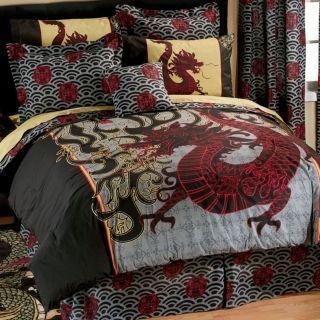 Boy Girl ORIENTAL ASIAN DRAGON Full Comforter Sheet Bed in a Bag Set
