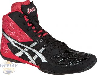 Asics Split Second 9 Mens Wrestling Shoes Red Silver Black J203Y 2193