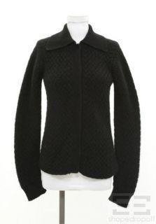 armani collezioni black cashmere snap front cardigan size 8