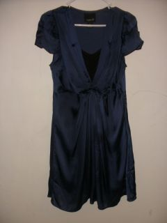 aryn K womens navy blue drapy dress short cap sleeve sz m silky