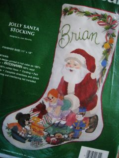 Crewel Stitchery Embroidery Christmas Stocking Kit Jolly Santa Marchie
