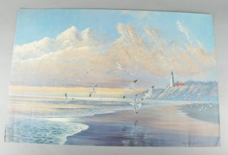 August Holland ASMA Print   Lighthouse Ocean Seagulls Beach Landscape