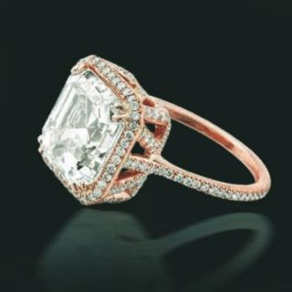 00ct Vintage Rose Gold Ascher Engagement Ring GIA