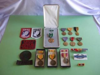 Collection of Military Medals, Ribbons and Patches WWII and Vietnam 18