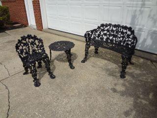Iron Grape Pattern Garden Furniture Patio Chair Bench Antique
