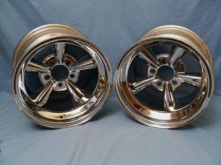 Rare Vintage Astro Supreme 15 x 10 Chrome 5 Spoke Mag Wheels Hot Rod