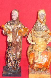 02 Pieces Vintage Mexican Folk Art Paper Mache Sculpture Dolls Womans