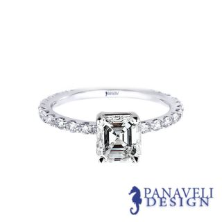 00 ct Asscher Cut Diamond Engagement Ring 18k White Gold G H VS2