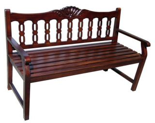WOODEN 4 ft BENCH ANTIQUE STYLE SHELL ACCENT CARVING SOLID MAHOGANY