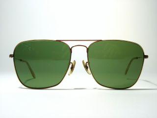 Vintage 1960s Ray Ban B L Square Aviator Sunglasses Gold w Green Lens