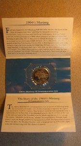1996 $5 Marshall Islands 1964 1 2 Mustang Ford Commemorative Coin