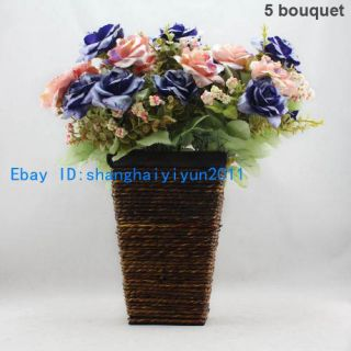 35 Pcs Artificial Flower Silk Rose Buds Wedding Bouquet Pink Blue F76