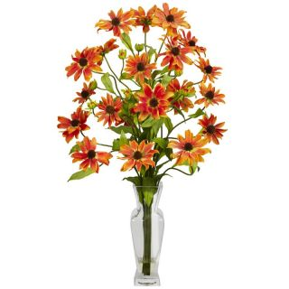 cosmos w vase silk flower arrangement orange purple red white yellow
